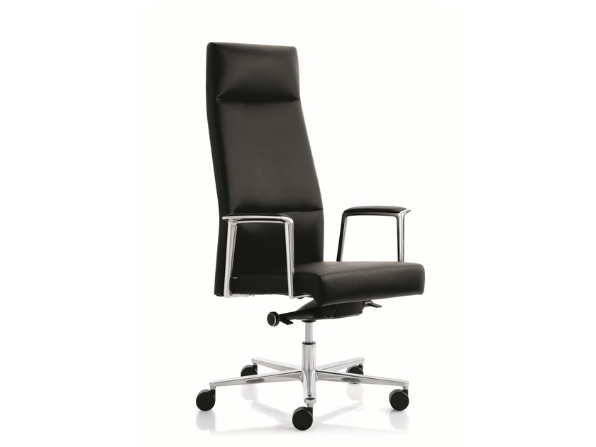 Executive chair with 5-spoke base with armrests MAX | High-back executive chair - Emmegi