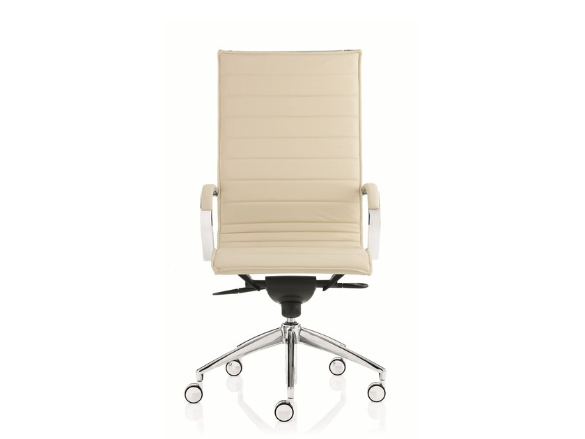 High-back leather executive chair with 5-spoke base with armrests EM202 BASIC | High-back executive chair - Emmegi