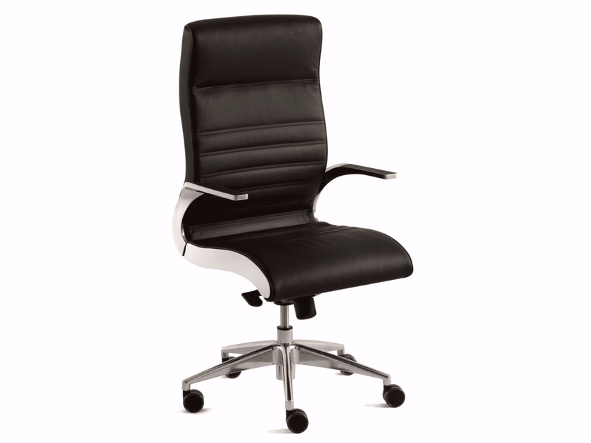High-back executive chair with 5-spoke base with casters SYNCHRONY | High-back executive chair - Luxy
