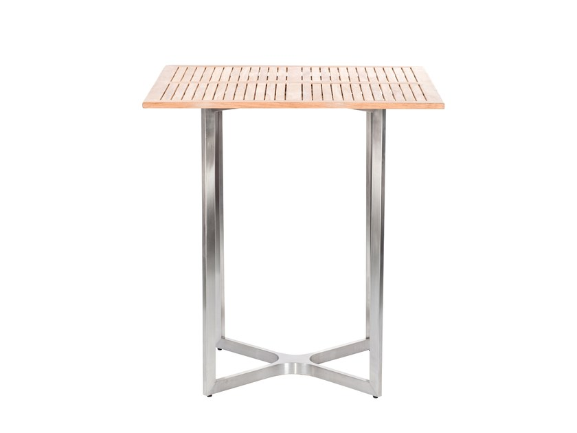 Square steel and wood high side table CITYSCAPE | High side table - 7OCEANS DESIGNS