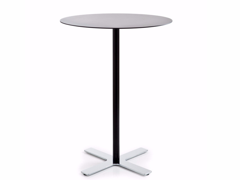 Round HPL high table with 4-star base INCROCIO | High table - Luxy
