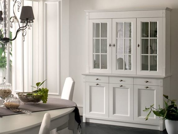 Modular wooden highboard with doors CLASSIC MELODY | Highboard by Callesella Arredamenti