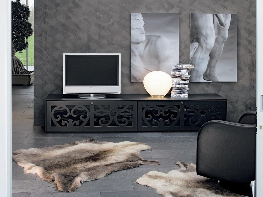 Low wood and glass TV cabinet PARIS   TV cabinet by Tonin Casa