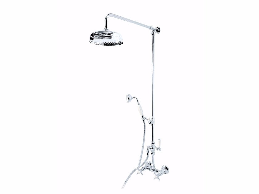 Wall-mounted metal shower panel with hand shower with overhead shower HILTON   Shower panel by GENTRY HOME