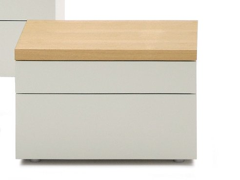 Wooden bedside table with drawers HIRO | Square bedside table - Silenia