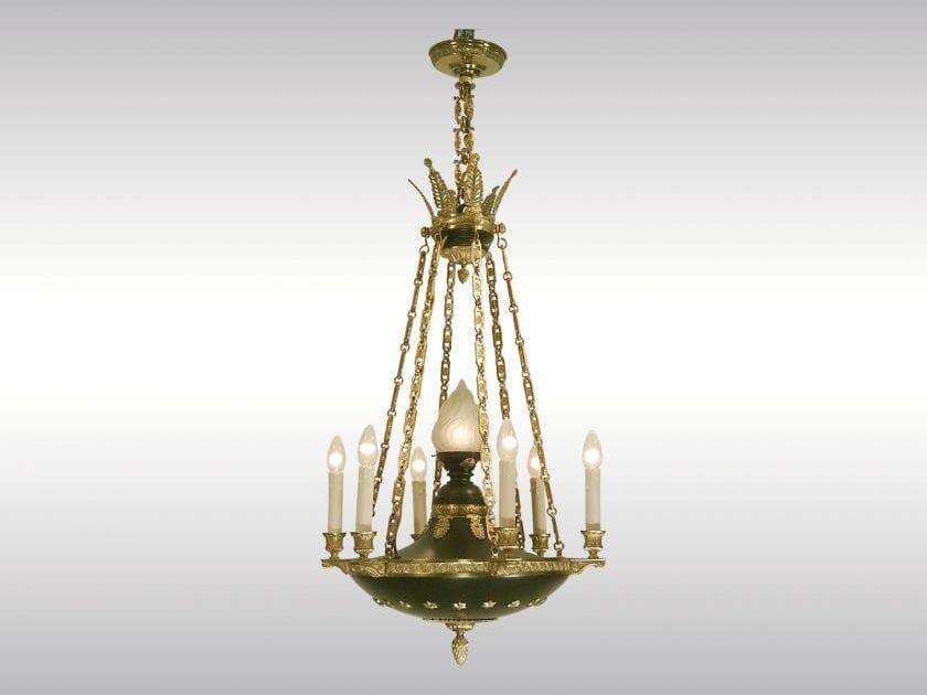 Classic style brass chandelier HISTORISTISCHER EMPIRELUSTER - Woka Lamps Vienna
