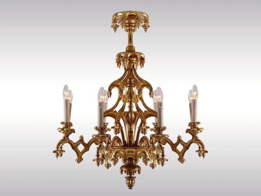 Classic style gold leaf chandelier HISTORISTISCHER LUSTER LAXENBURGER GOTIK - Woka Lamps Vienna