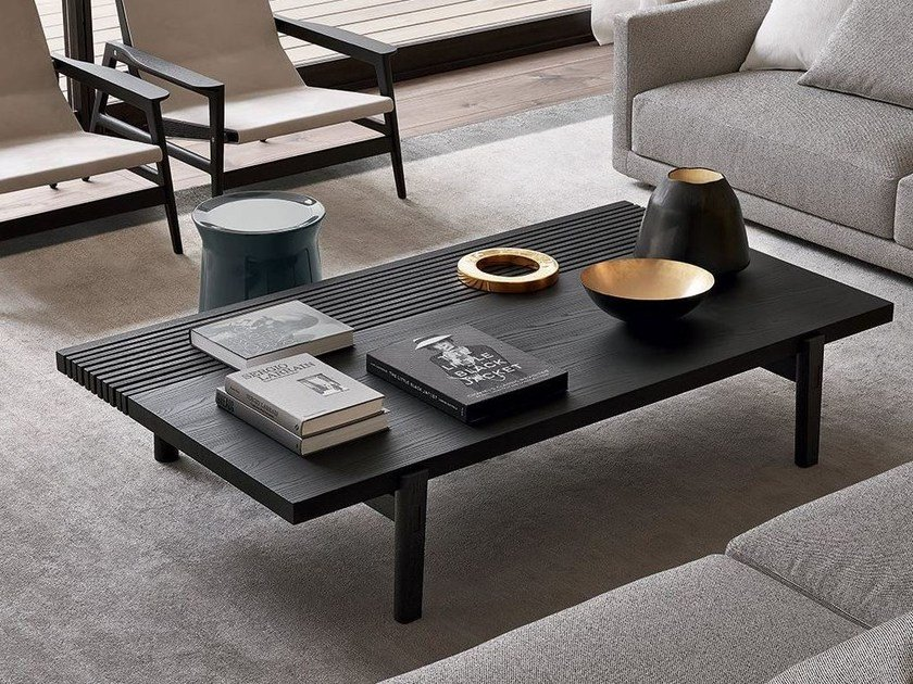 Low rectangular wood veneer coffee table HOME HOTEL | Rectangular coffee table by poliform