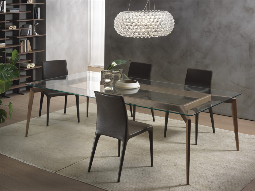 Rectangular wood and glass table HOPE | Wood and glass table - Pacini & Cappellini