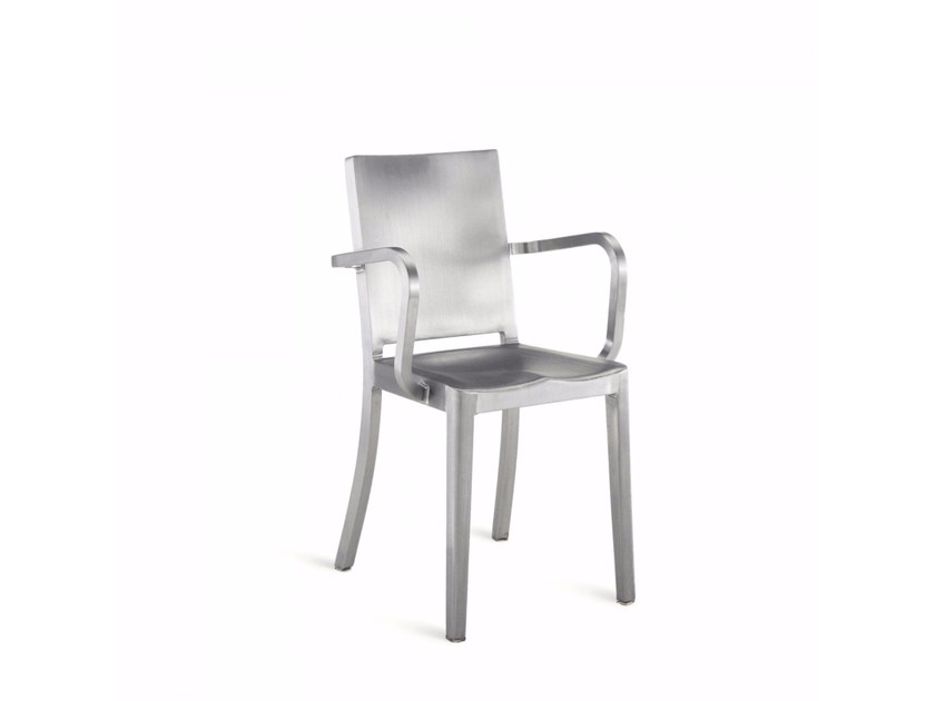 Aluminium chair with armrests HUDSON | Chair with armrests - Emeco