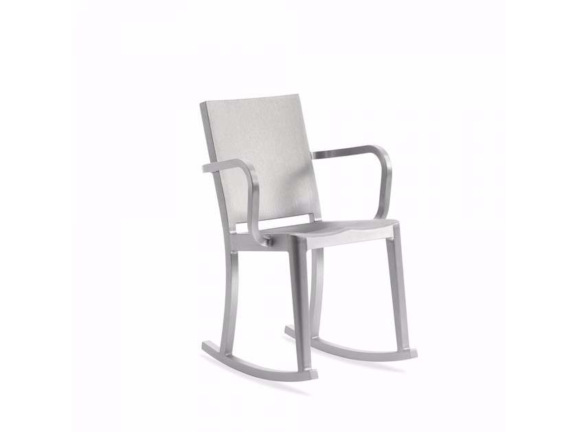 Rocking aluminium chair with armrests HUDSON | Rocking chair - Emeco
