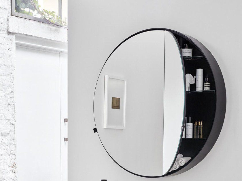 Round wall-mounted mirror with cabinet I CATINI ROUND BOX - Ceramica Cielo