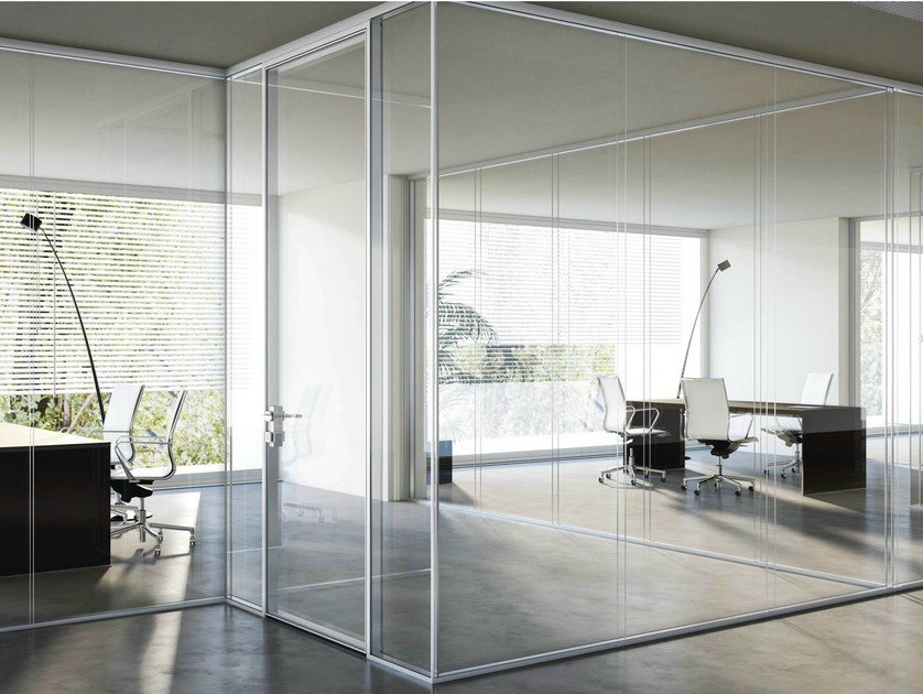 Glass partition wall I-WALLSPACE by FANTONI