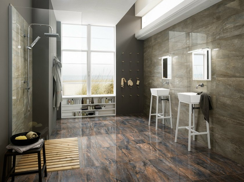 Porcelain stoneware wall tiles with marble effect ICON ALMOND by La Fabbrica