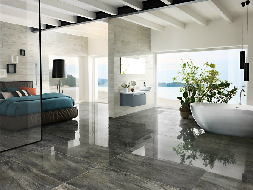 Porcelain stoneware flooring with metal effect ICON CHARCOAL - La Fabbrica