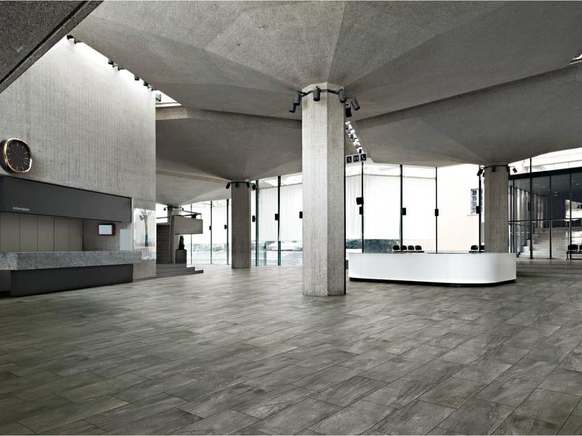 Porcelain stoneware flooring with metal effect ICON GLACIER by La Fabbrica