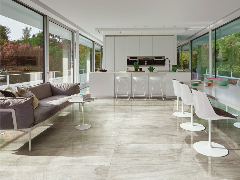 Porcelain stoneware flooring with metal effect ICON OYSTER | Flooring - La Fabbrica