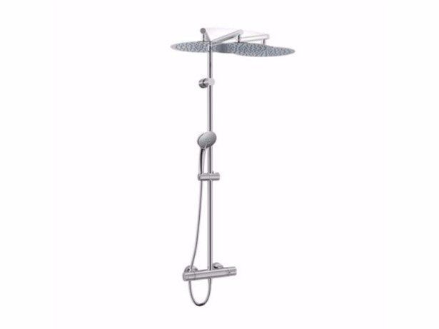Wall-mounted stainless steel shower panel with overhead shower IDEALRAIN DUO LUXE - A6246 - Ideal Standard Italia