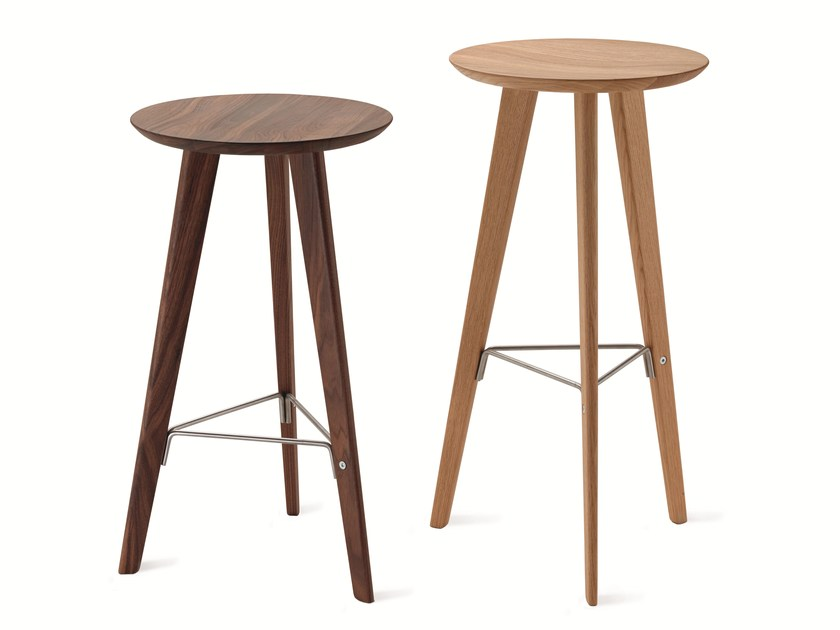 High solid wood stool IDO 2286 by Zanotta