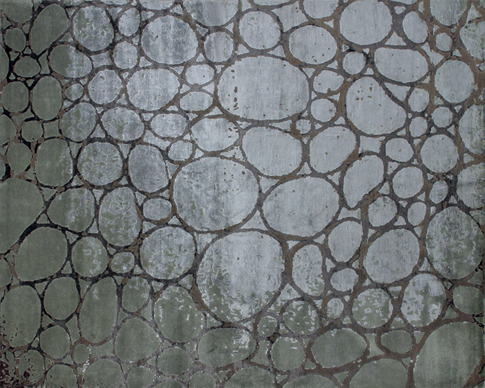 Handmade rectangular rug IGUANA AQUA - EDITION BOUGAINVILLE