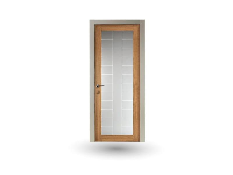 Hinged wood and glass door IKI 30G V1 ROVERE MIELE by GD DORIGO
