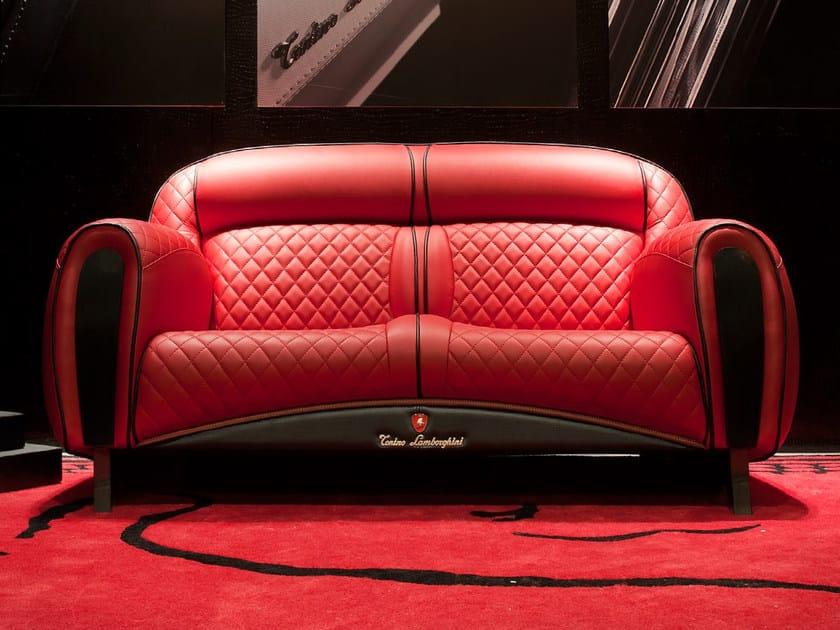 Upholstered 2 seater leather sofa IMOLA CARBON 2012 | 2 seater sofa by Tonino Lamborghini Casa