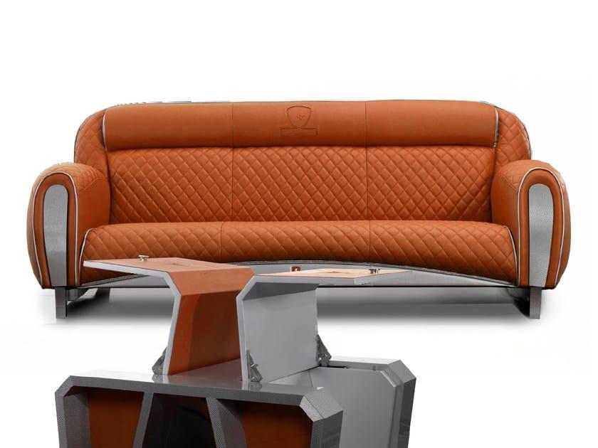 Divano imbottito in pelle a 3 posti IMOLA CARBON 2012 | Divano a 3 posti - Tonino Lamborghini Casa by Formitalia Group