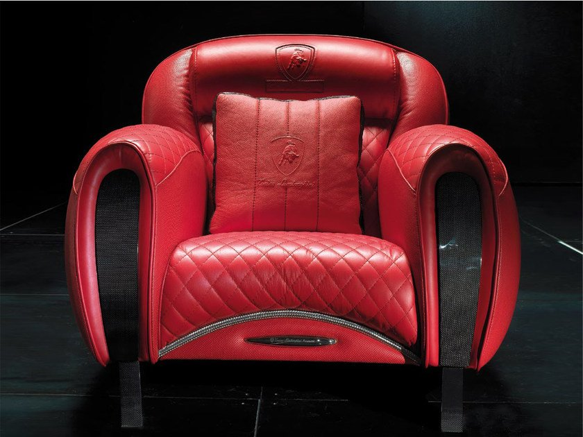 Upholstered leather armchair with armrests IMOLA CARBON | Armchair - Tonino Lamborghini Casa by Formitalia Group