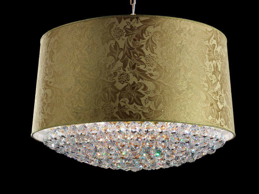 Direct light incandescent fabric pendant lamp with crystals IMPERO VE 1182 | Pendant lamp by Masiero