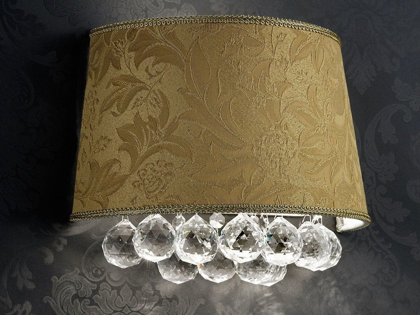 Direct light incandescent fabric wall light with crystals IMPERO VE 1182 | Wall light - Masiero
