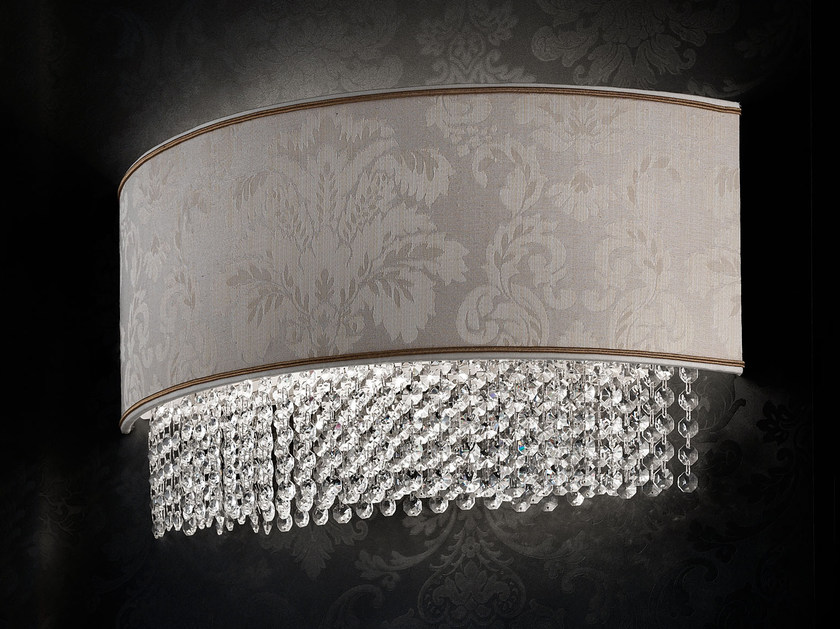 Direct light incandescent fabric wall light with crystals IMPERO VE 1186 | Wall light by Masiero