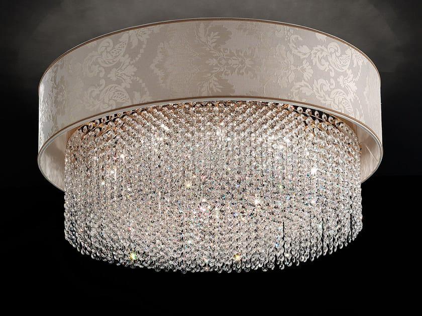 Lampada da soffitto a luce diretta incandescente in tessuto con cristalli IMPERO VE 1186 | Lampada da soffitto - Masiero
