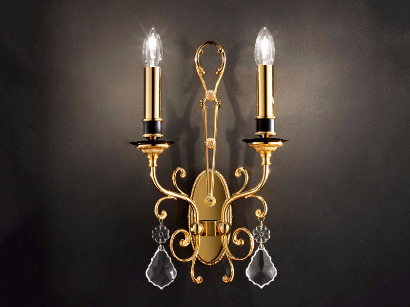 Direct light incandescent metal wall light with crystals IMPERO VE 780 | Wall light - Masiero