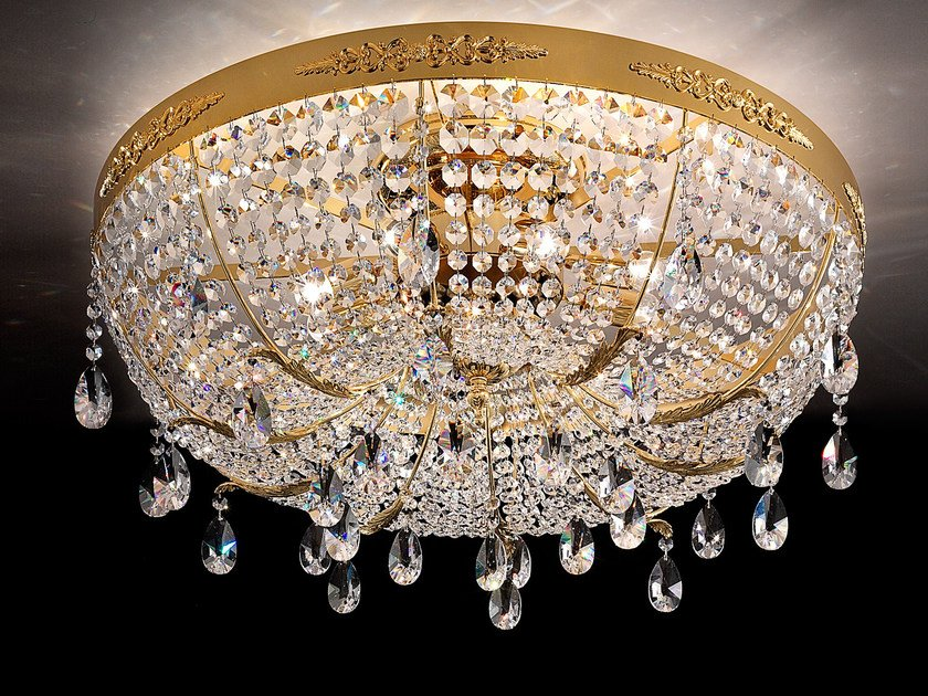 Direct light incandescent metal ceiling lamp with crystals IMPERO VE 782 | Ceiling lamp - Masiero