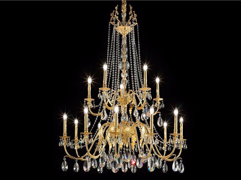 Lampadario a luce diretta incandescente in metallo verniciato con cristalli IMPERO VE 782 | Lampadario - Masiero