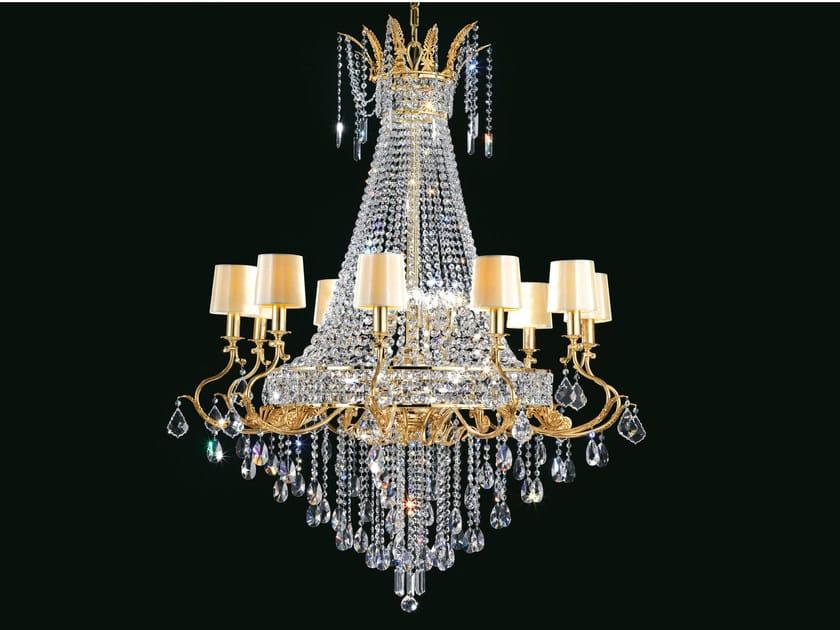 Lampadario a luce diretta incandescente in ottone con cristalli IMPERO VE 800 | Lampadario - Masiero
