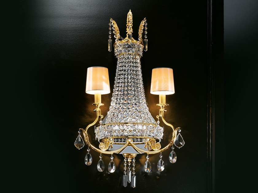 Direct light incandescent brass wall light with crystals IMPERO VE 800 | Wall light by Masiero