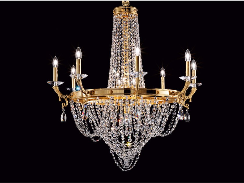 Direct light incandescent brass chandelier with crystals IMPERO VE 805 | Chandelier - Masiero