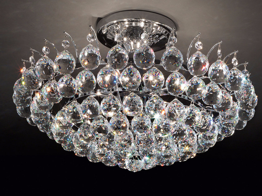 Direct light incandescent metal ceiling lamp with crystals IMPERO VE 808 by Masiero