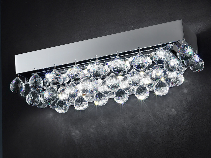 LED direct light metal ceiling lamp with crystals IMPERO VE 809 | Ceiling lamp by Masiero