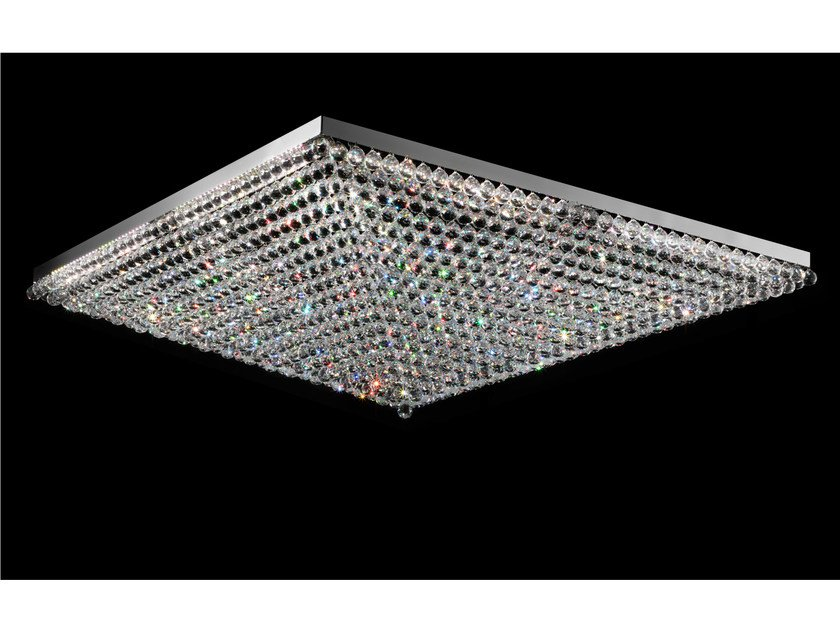 LED direct light metal ceiling light with crystals IMPERO VE 809 | Ceiling light - Masiero
