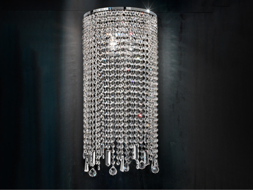 Direct light incandescent metal wall light with crystals IMPERO VE 812 | Wall light by Masiero
