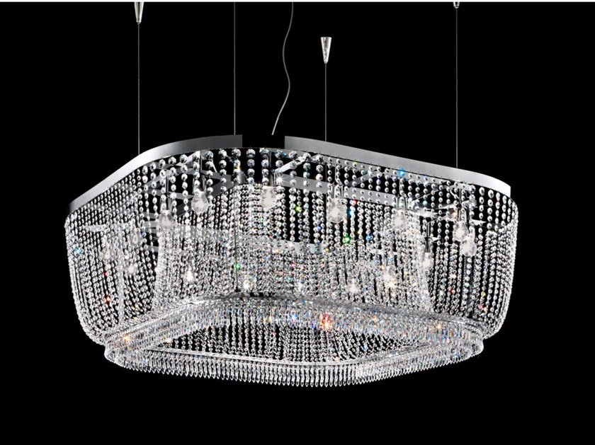 Direct light incandescent chrome plated pendant lamp with crystals IMPERO VE 813 | Pendant lamp - Masiero