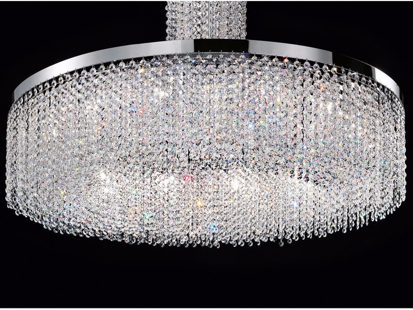 Direct light incandescent chrome plated pendant lamp with crystals IMPERO VE 815 | Pendant lamp - Masiero