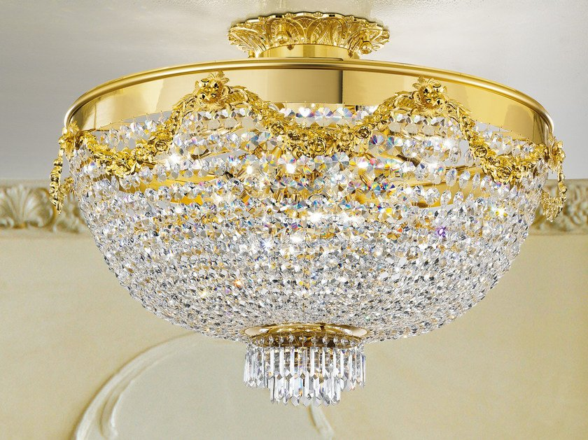 Direct light incandescent metal ceiling lamp with crystals IMPERO VE 818 | Ceiling lamp - Masiero