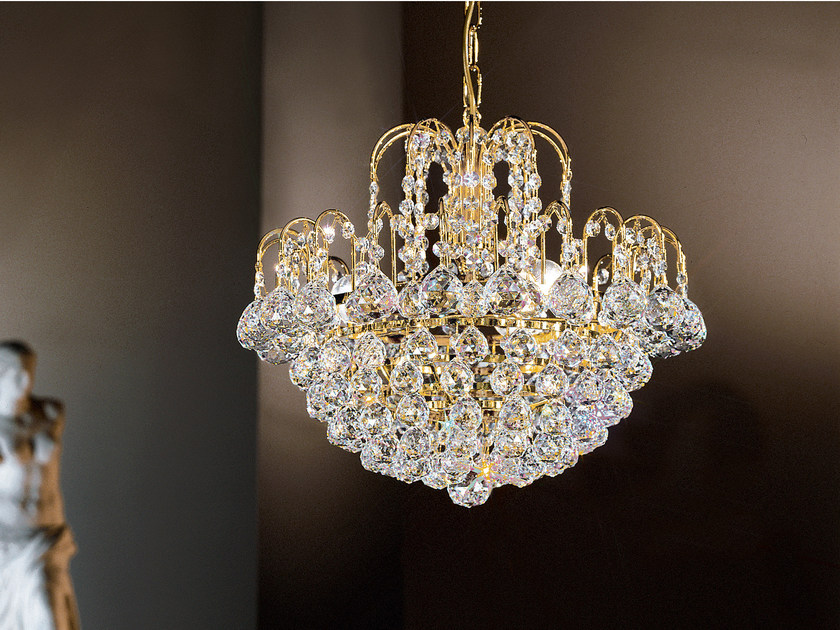 Direct light incandescent metal pendant lamp with crystals IMPERO VE 822 | Pendant lamp - Masiero