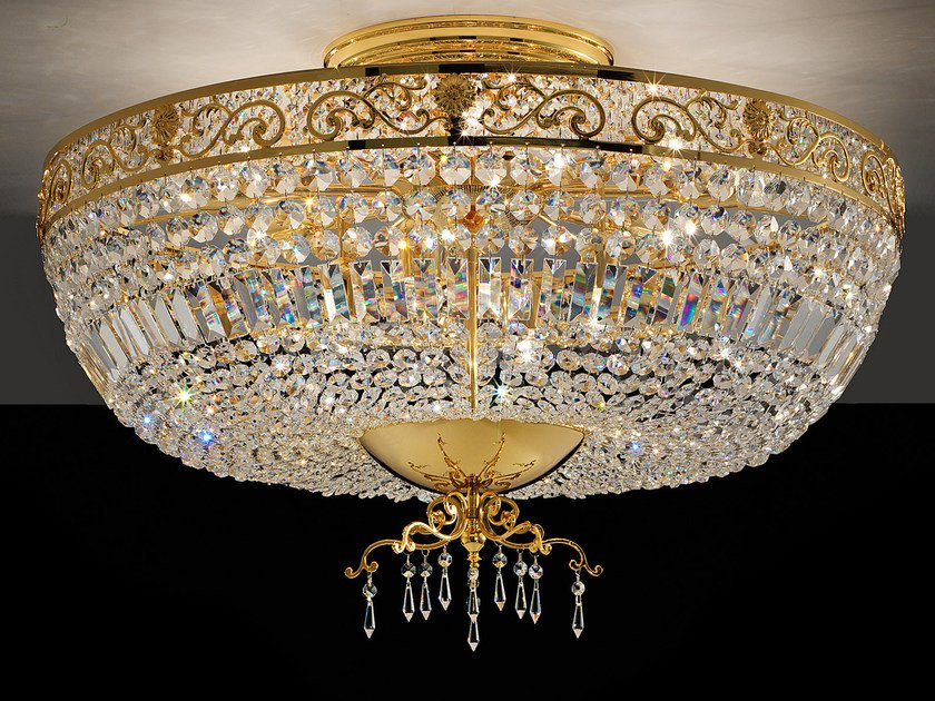 Direct light incandescent brass ceiling lamp with crystals IMPERO VE 823 | Ceiling lamp - Masiero