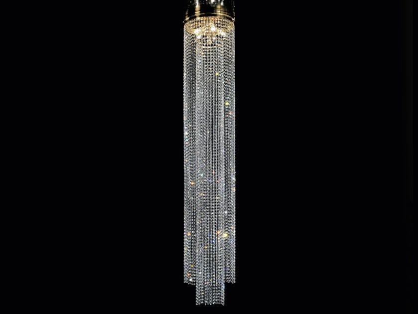 Lampada a sospensione a luce diretta incandescente in ottone con cristalli IMPERO VE 824 by Masiero