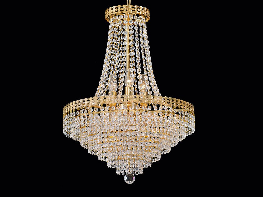 Direct light incandescent brass pendant lamp with crystals IMPERO VE 826 - Masiero