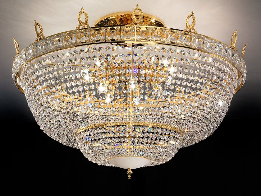 Direct light incandescent brass ceiling lamp with crystals IMPERO VE 829 | Ceiling lamp - Masiero